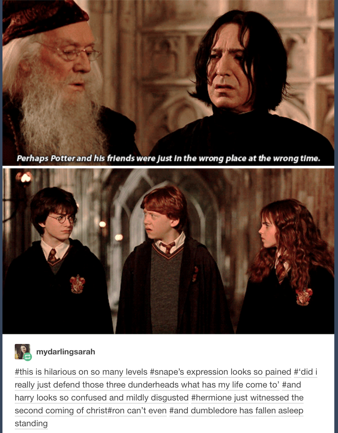 That horrifying moment when Snape acts like he has a soul