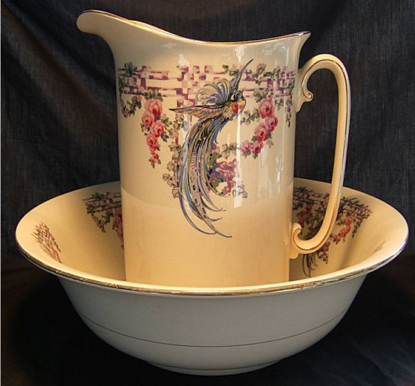 Bird of Paradise Bowl & Pitcher Set, Regal Pottery Co., England