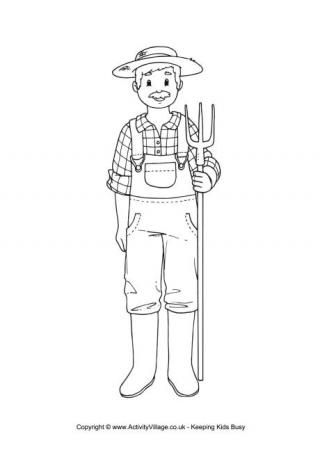 Farmer colouring page | I {heart} Coloring Pages | Pinterest ...