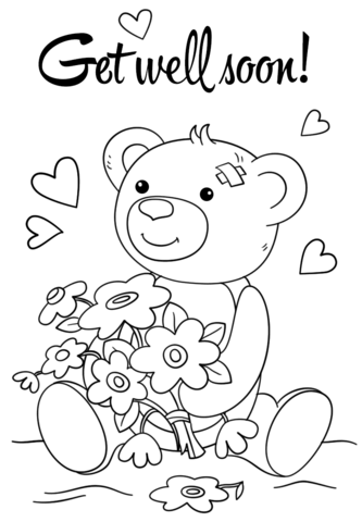 Cute Get Well Soon Coloring Page Cute Coloring Pages Teddy Bear Coloring Pages Get Well Cards