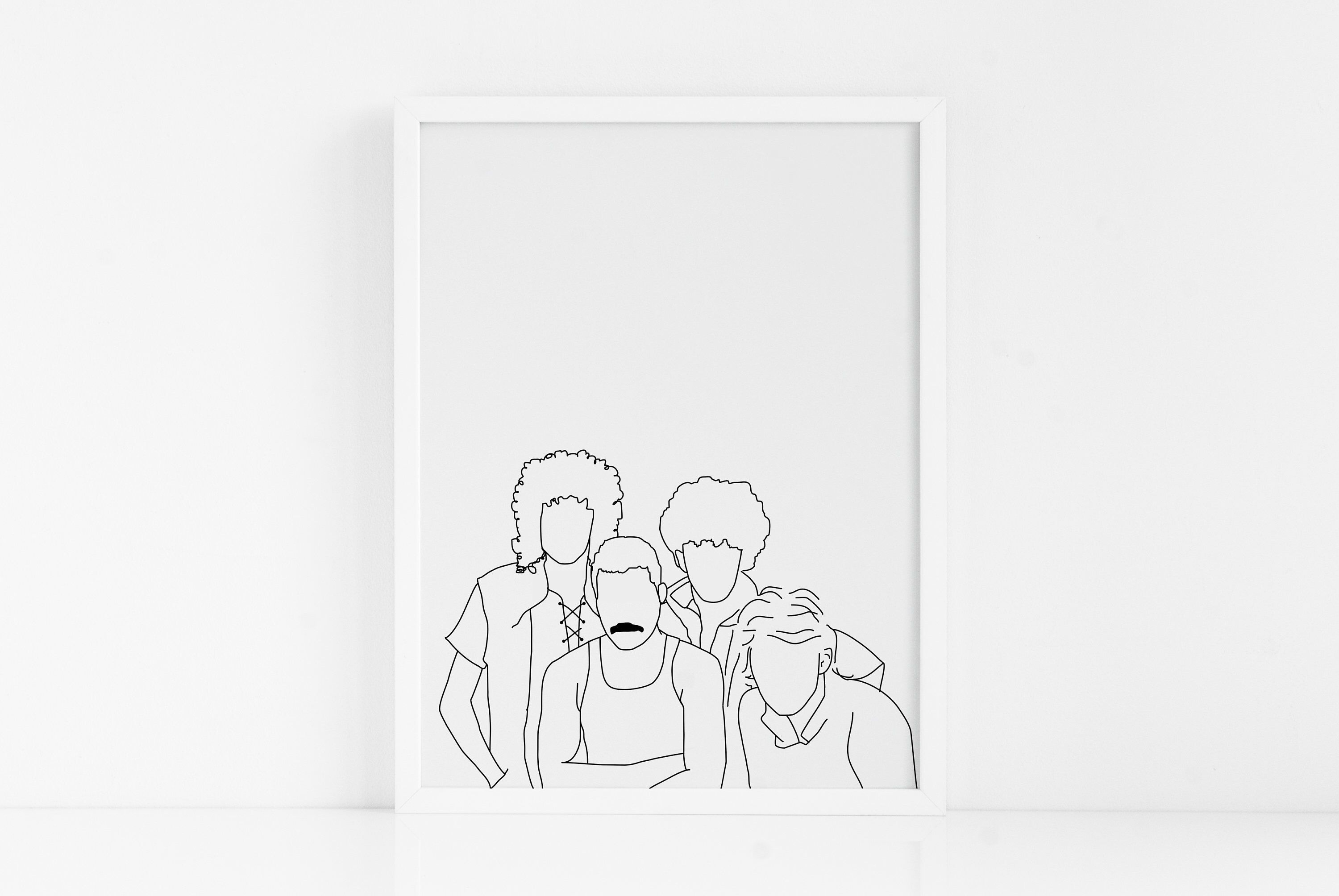 Queen Band FRAMED ART|Line Drawing of Queen|Freddie Mercury Art Print|Queen Poster|Gift for Him|Gift for Her|Unique Gift|Don't Stop Me Now
