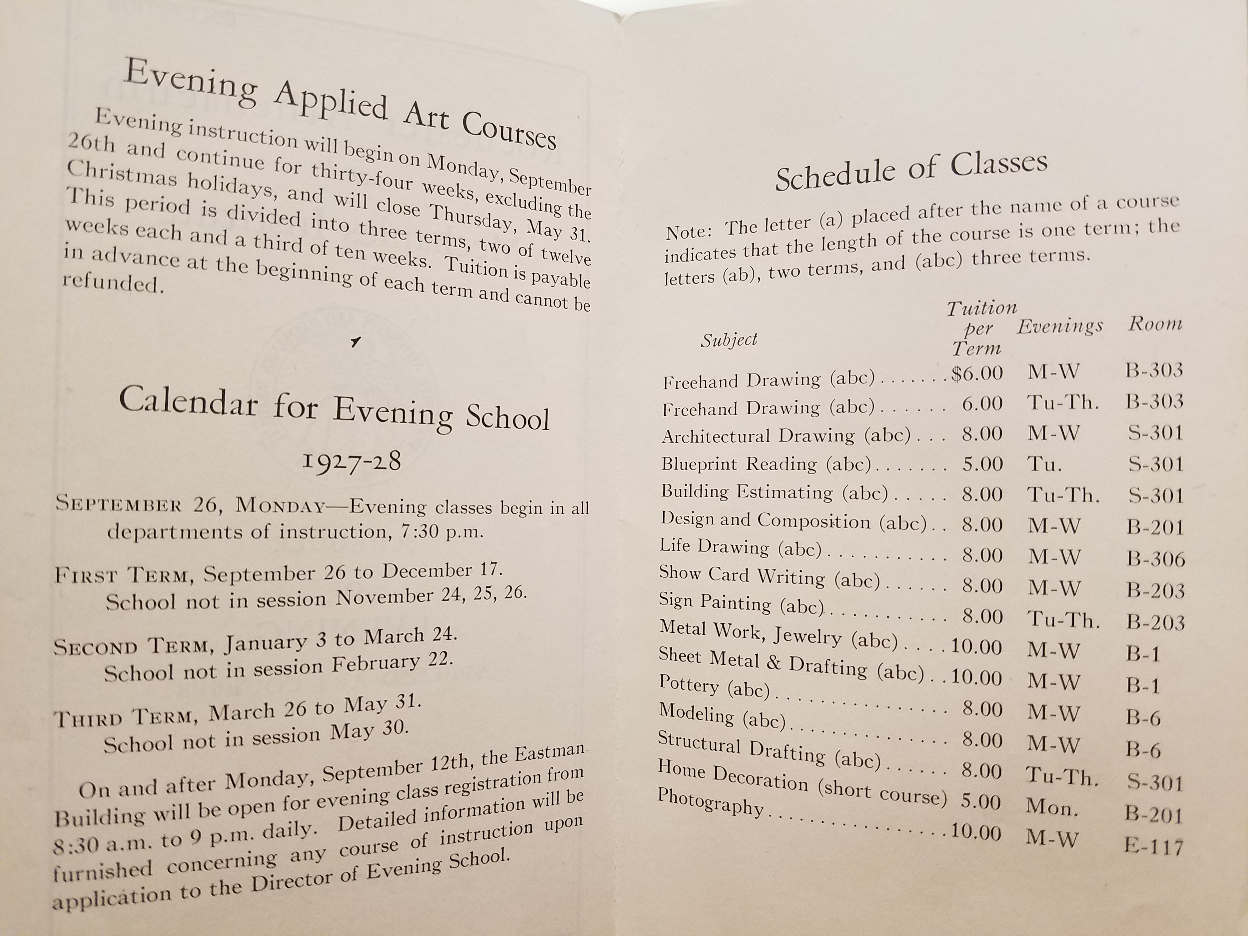 Evening Applied Arts Course Handout 1925 26 Course Schedule Evening Courses How To Apply