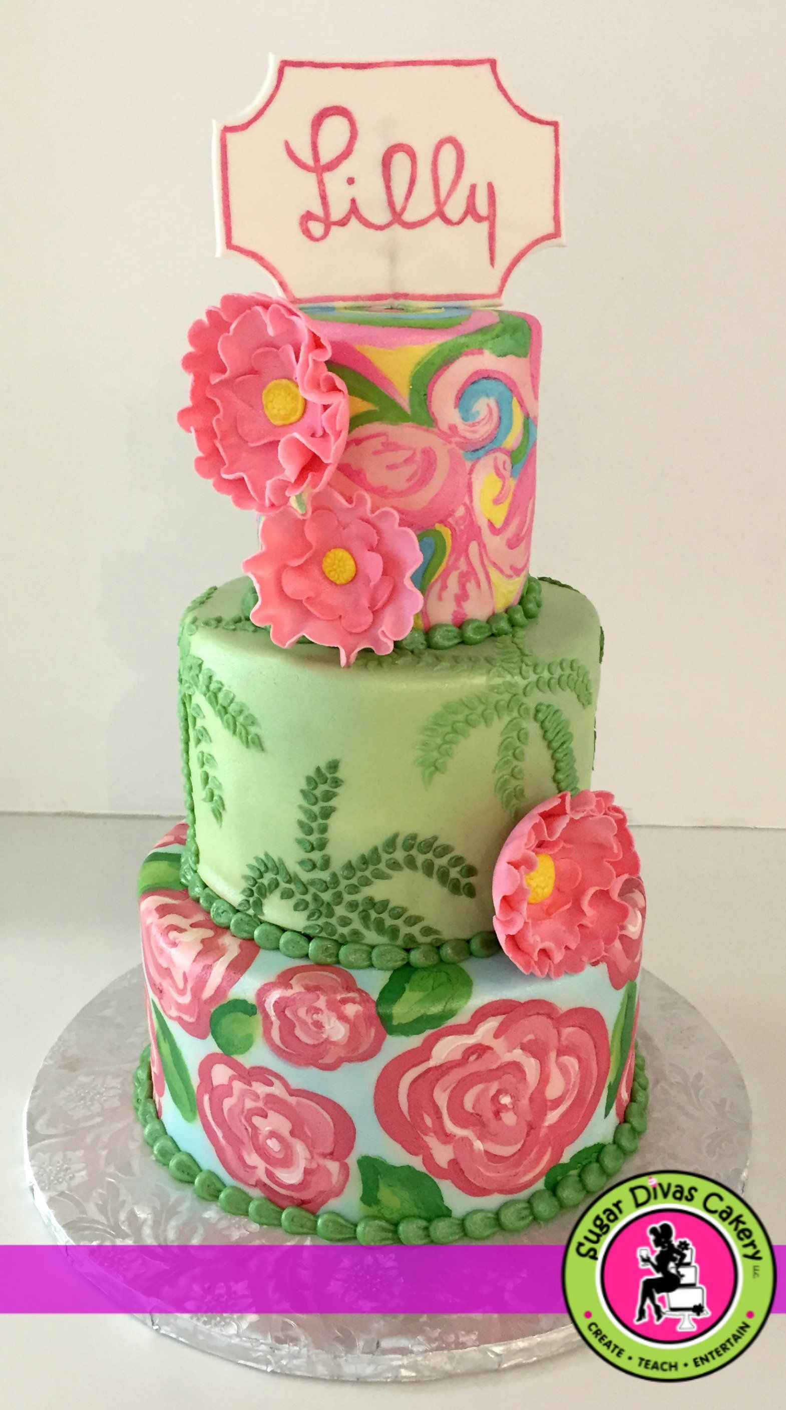 Lilly Pulitzer inspired birthday cake pink and green floral