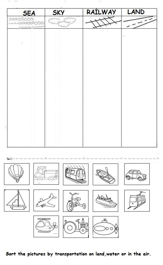 vehicle worksheet for kids | October Preschool-Transportation/Outer ...