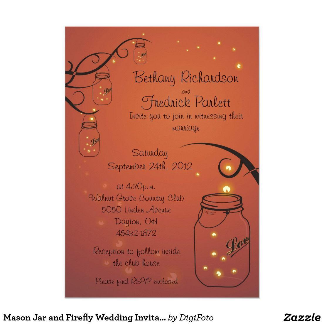 Mason Jar and Firefly Wedding Invitation Orange | Pinterest | Weddings