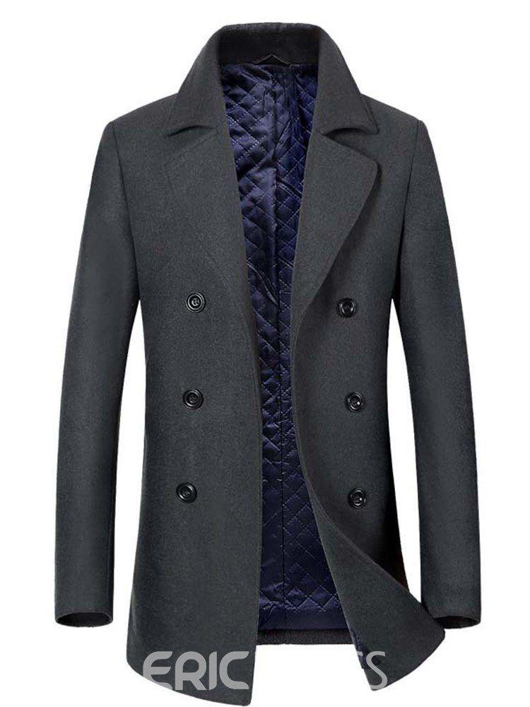 c01fb7c7e9 Ericdress Plain Lapel Double Breasted Slim Mens Casual Wool Coats ...