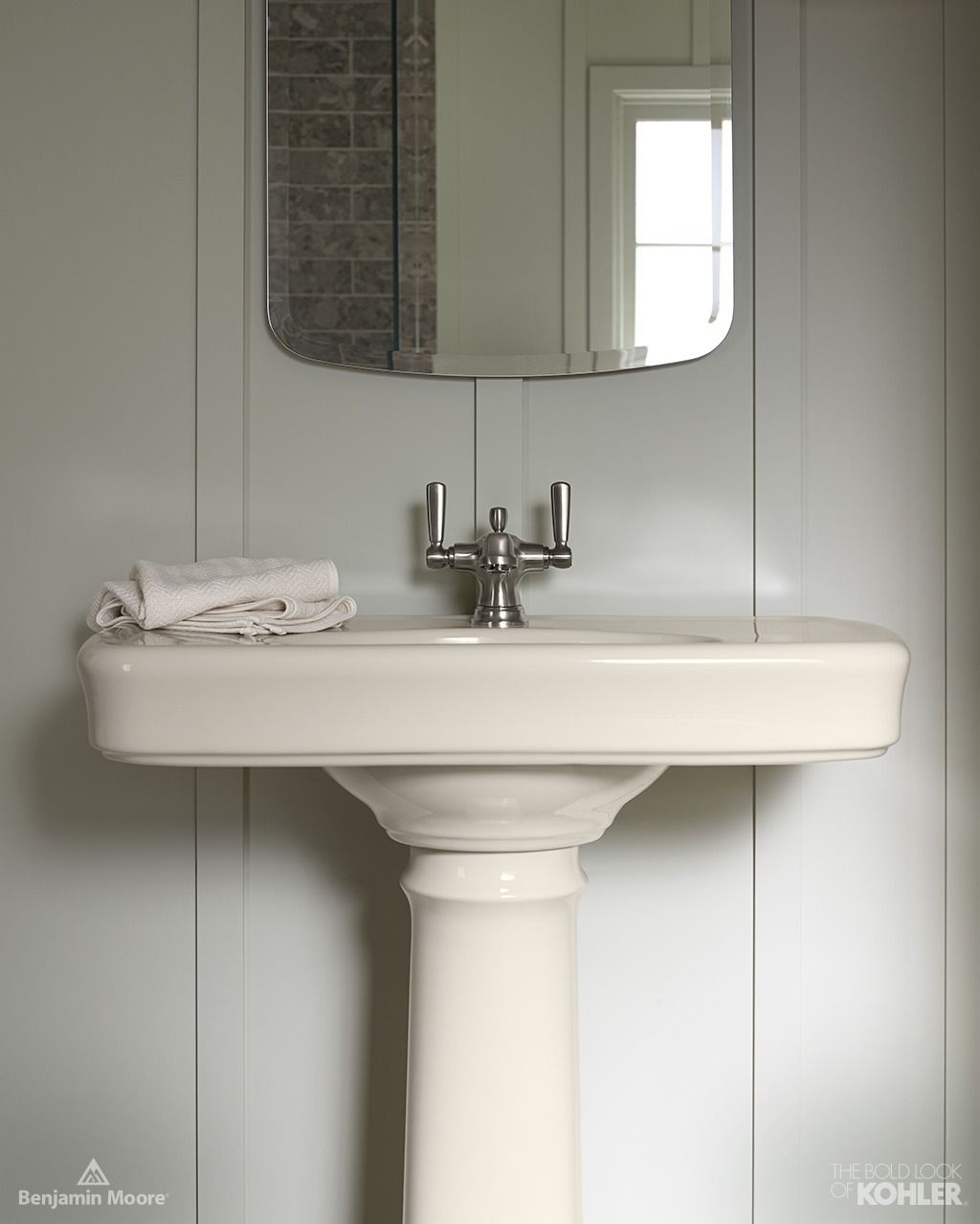 Benjamin Gray Mirage Paint Almond Fixtures and A Brushed Nickel