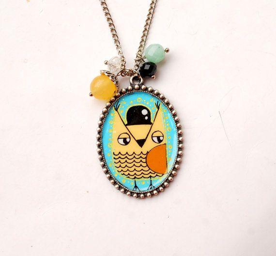 Cute Fancy Owl Handpainted Cameo Necklace  by PumpkinDesign, $30.00