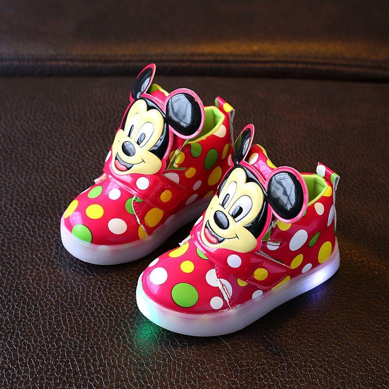 Dzieci Buty Z Chlopcow Sneakers Nowa Wiosna Jesien Kropki Oswietlony Led Swiatla Mody Dziewczyny Mickey Buty Dzieci Mickey Shoes Spring Sneakers Children Shoes