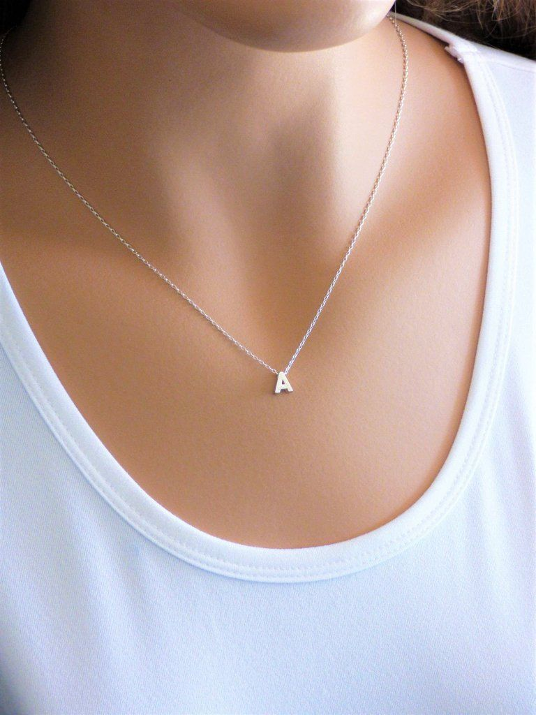Sterling silver initial necklace my jewelry pinterest sterling silver initial necklace aloadofball Gallery