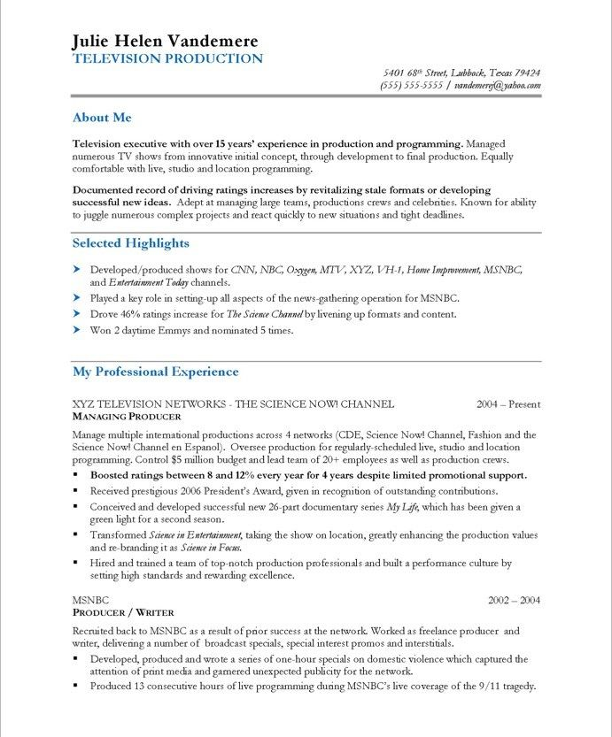 like the \ - executive producer sample resume