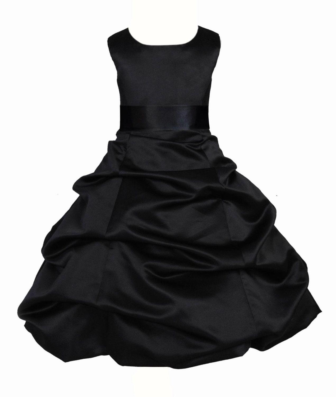 Black Flower Girl Dress Tie Sash Pageant Wedding Bridal Recital