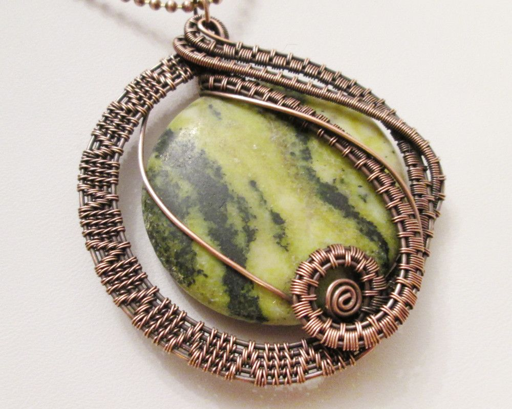 Oxidized copper wire woven yellow turquoise pendant necklace