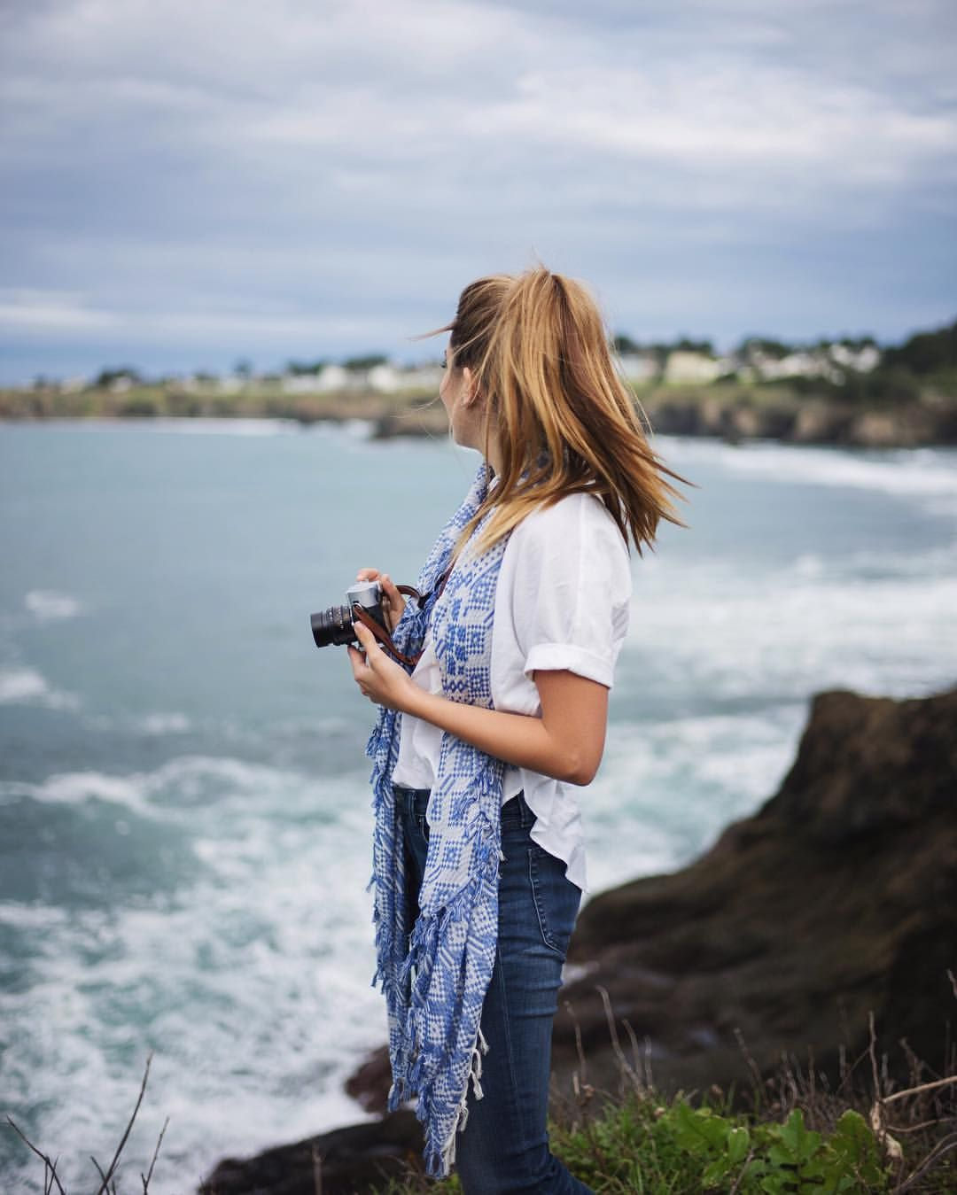 """Julia Engel (Gal Meets Glam) on Instagram: """"Wearing my favorite pair of @gap Denim while on a road trip with @cntraveler to Mendocino County a few weeks ago. Mendocino has some of the most stunning views of the Northern California Coast and lush landscapes, it's full of hidden gems. #styldby #nothingbutdenim"""""""