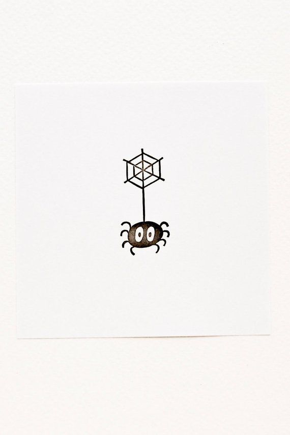 Small spider stamp, coworker funny gift, spider on web stamp, Halloween stamp, best friend birthday, minimalist stamp, funny gift