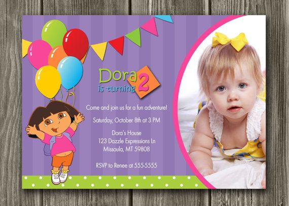 Invitations for Gracies party Dora the Explorer Birthday – Dora the Explorer Birthday Invitation