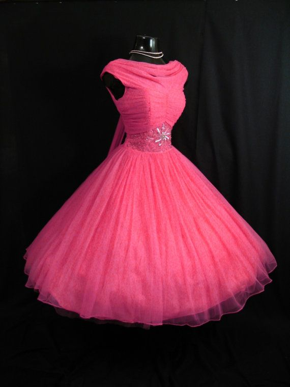 Vintage 1950\'s 50s Fuschia Hot Pink Beaded Ruched CHIFFON Organza ...