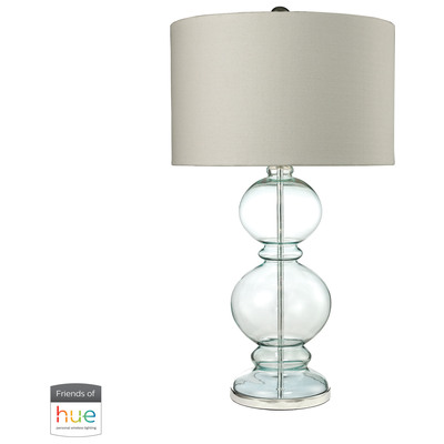 Elk Home D2556 Hue B Table Lamps Elk Home Curvy Glass Table Lamp In Light Blue With Textured Linen Shade With Philips Hue Led Bulb Bridge D2556 Hue B Glass Table Lamp Table