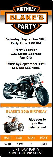 Motorcycle Birthday Party Ticket Invitation Party Ideas - party ticket invitations