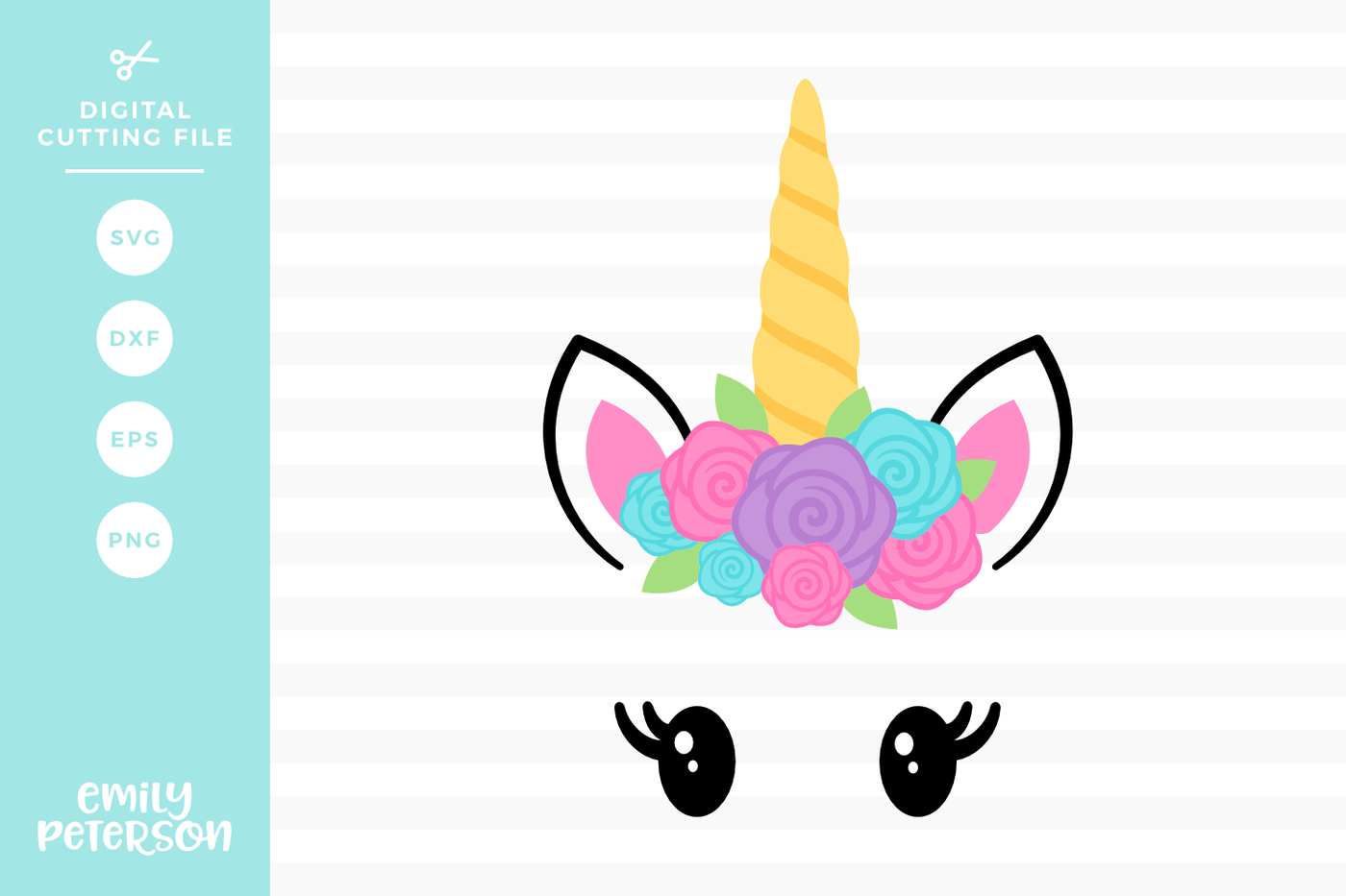 Unicorn Face SVG DXF By Emily Peterson Studio