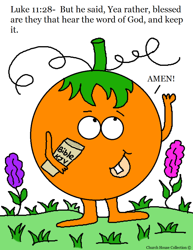 pumpkin holding bible coloring page luke 11 28 blessed are they