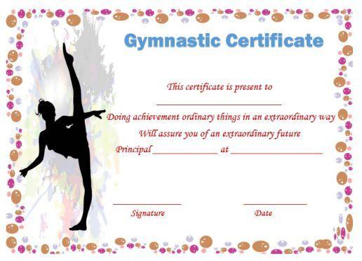 certificate certificates gymnastic templates template gymnastics award creative printable awards templatesumo names