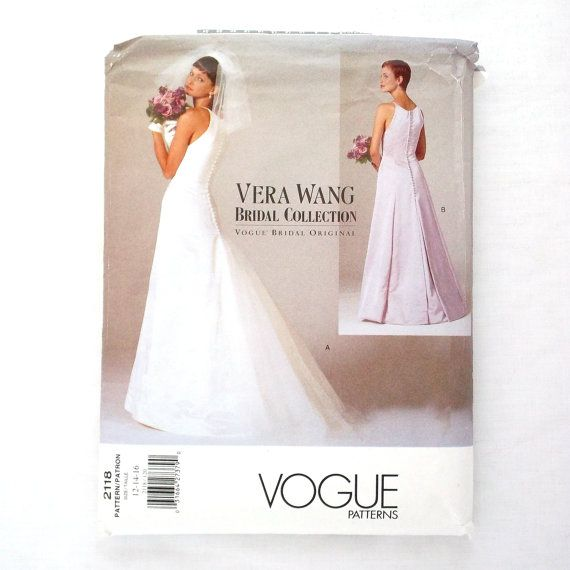 Vogue 2118 Vera Sewing Pattern Bridal Collection Wedding Dress Size 16