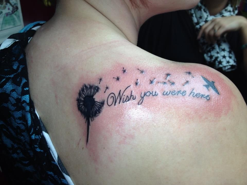 Dandelion tattoo for my father who pass away wish you were for Tattoos for dad that passed away
