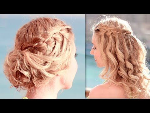 New Year S Eve Hairstyles 2016 For Medium Long Hair Tutorial Braided Curly Holiday Updo Braided Hairstyles Updo Waterfall Braid Hairstyle Front Hair Styles