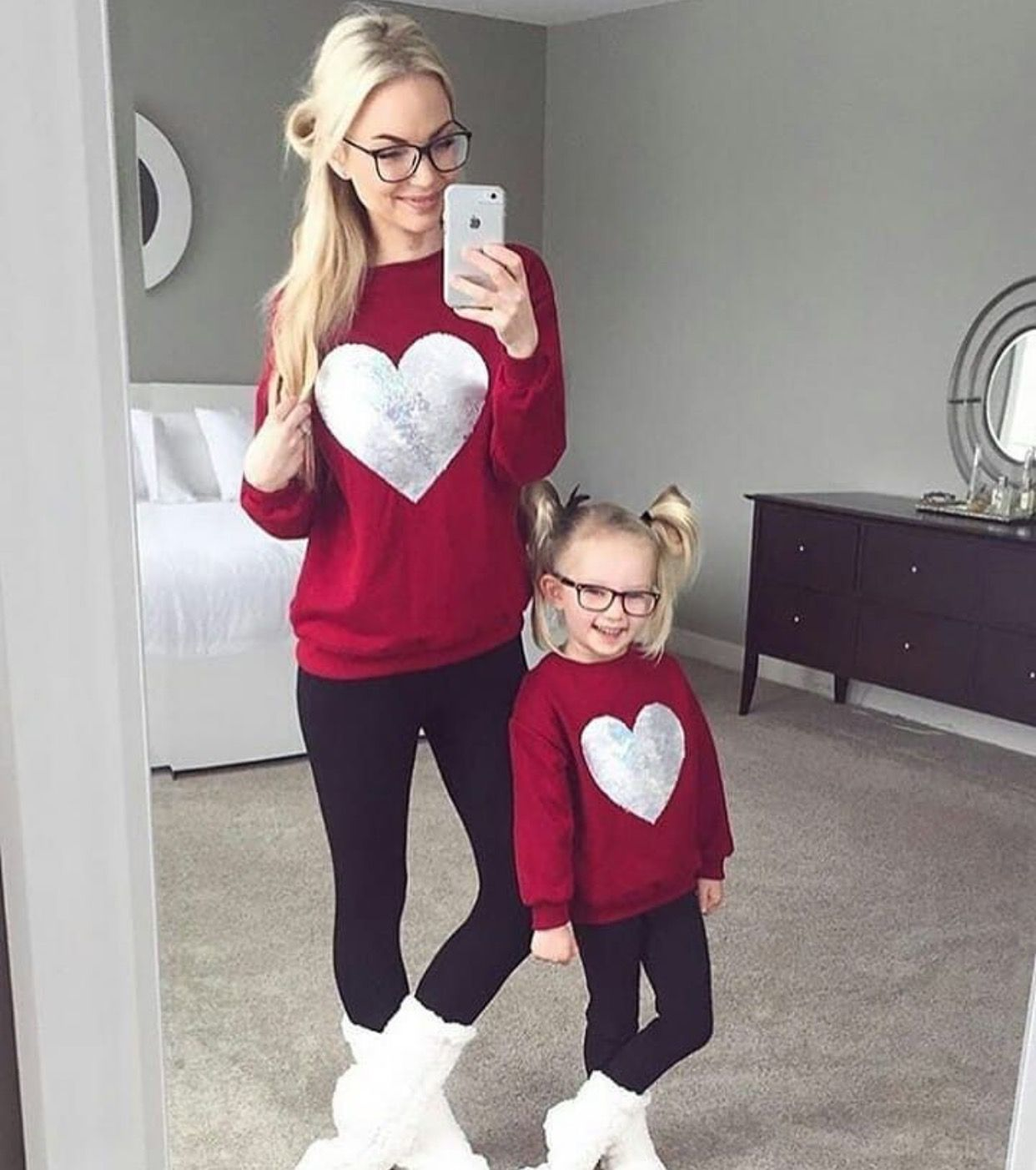PopReal Family Matching Outfits Love Heart Printed Valentines Day Shirt Mommy and Me Outfits