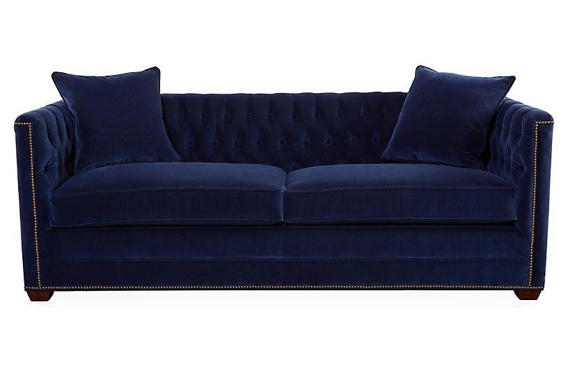 Astounding Ames 86 Tufted Sofa Lapis Blue Velvet 4 095 00 Fabrics Machost Co Dining Chair Design Ideas Machostcouk