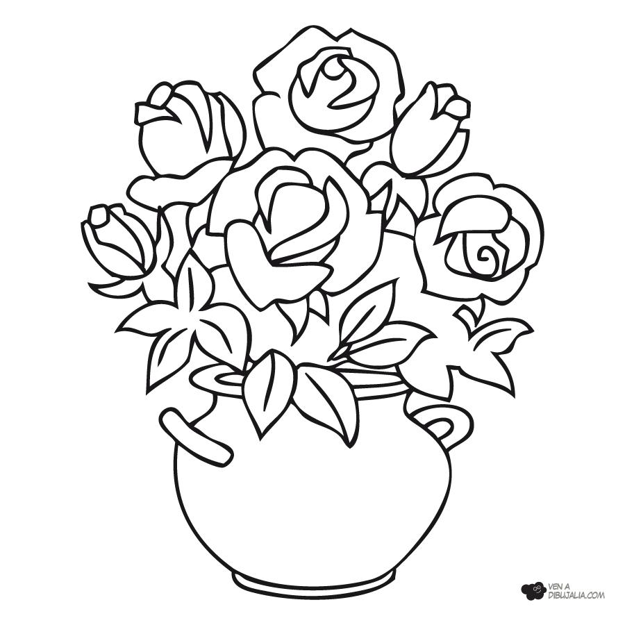 dibujo de rosas en florero - Buscar con Google   rosas en florero ...