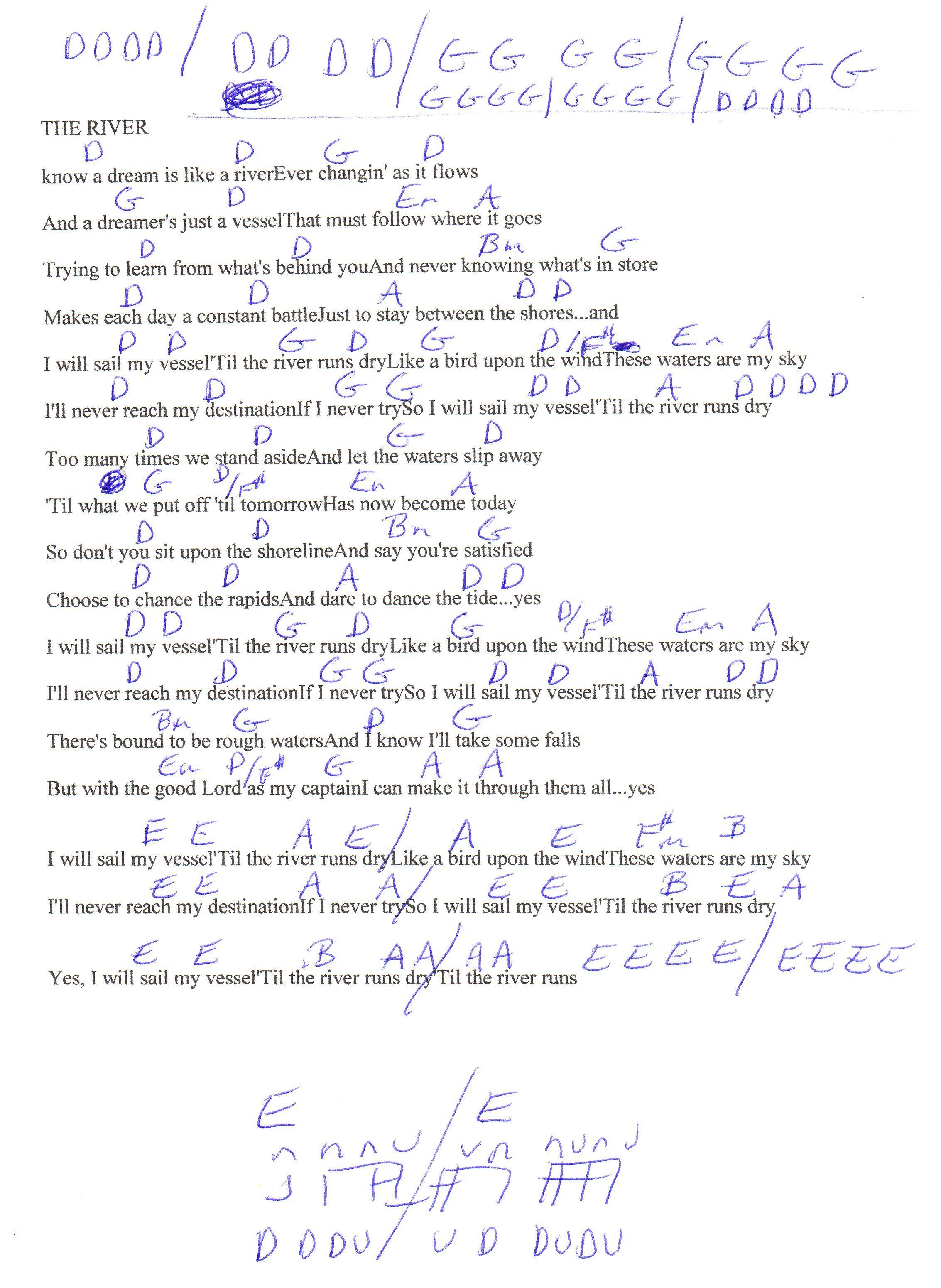 The River Garth Brooks Guitar Chord Chart In D Real Key Guitar