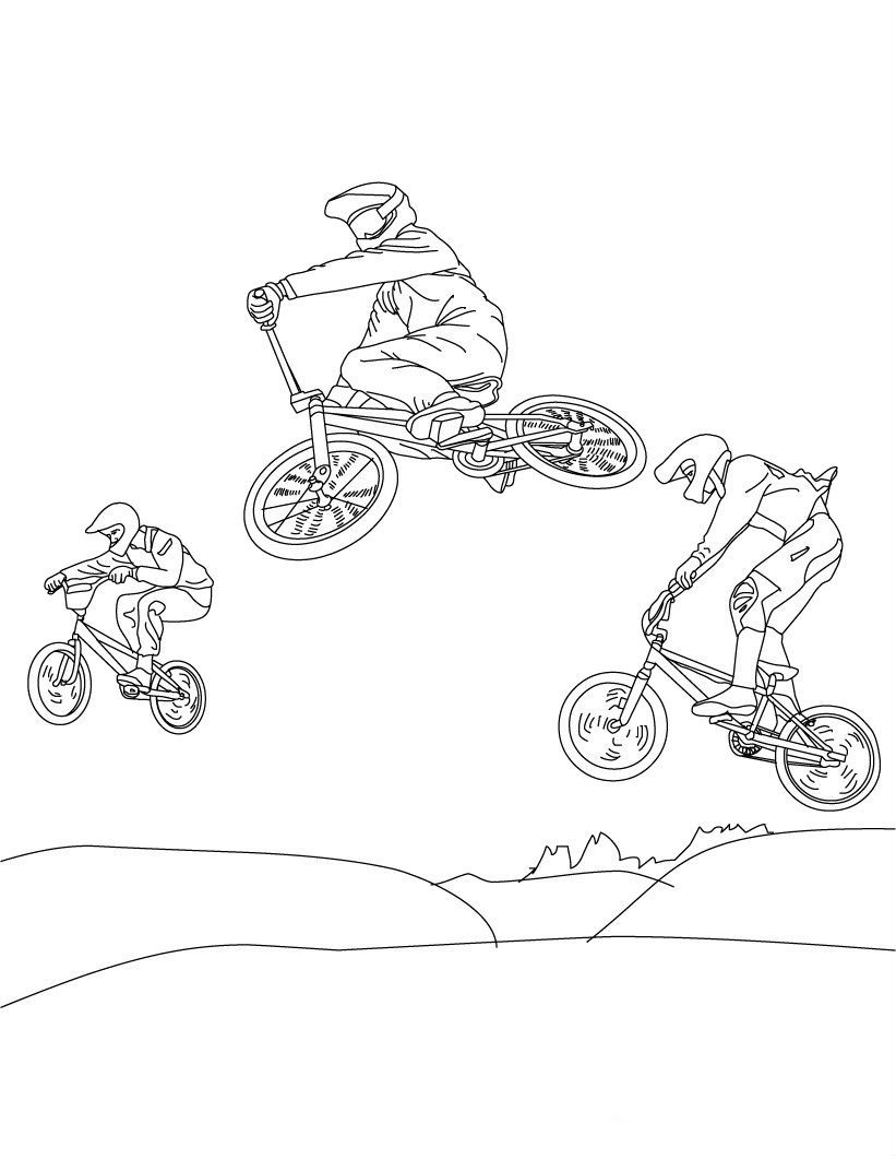 Bicycle Attractions Coloring Pages For Kids Mv Printable Cyclists And Bicycles Coloring Pages For Kids