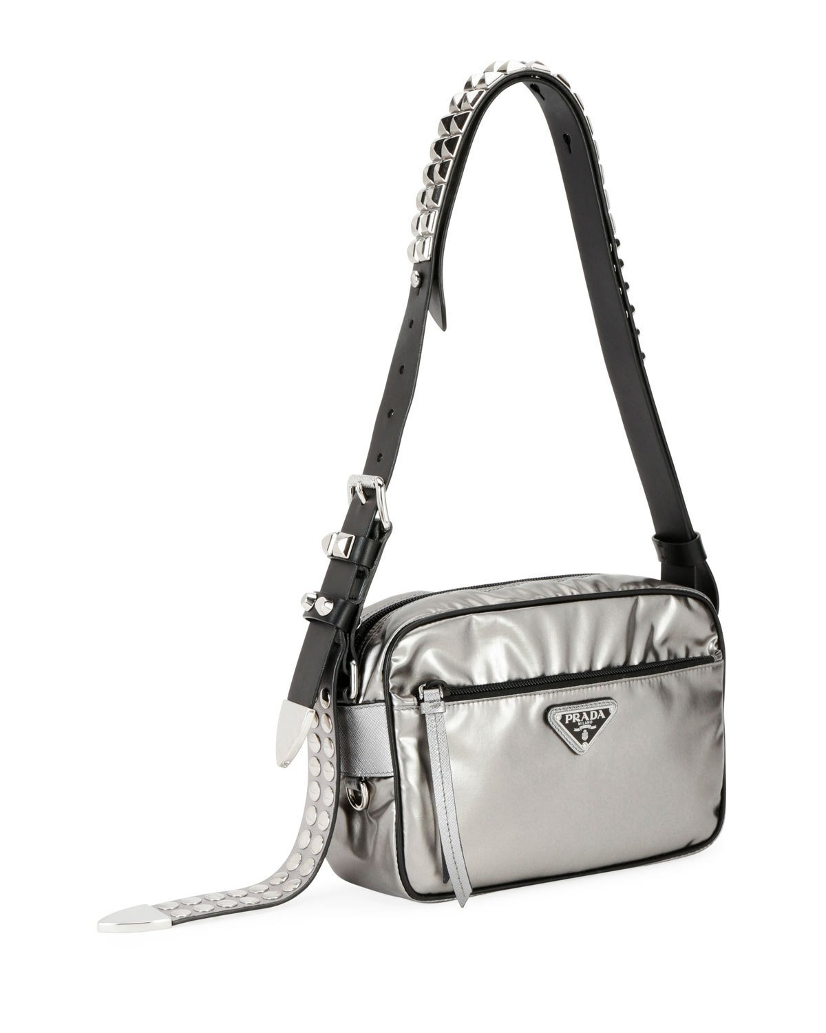 7bccc4d4c58 Prada Small Metallic Nylon Shoulder Bag with Studded Leather Strap