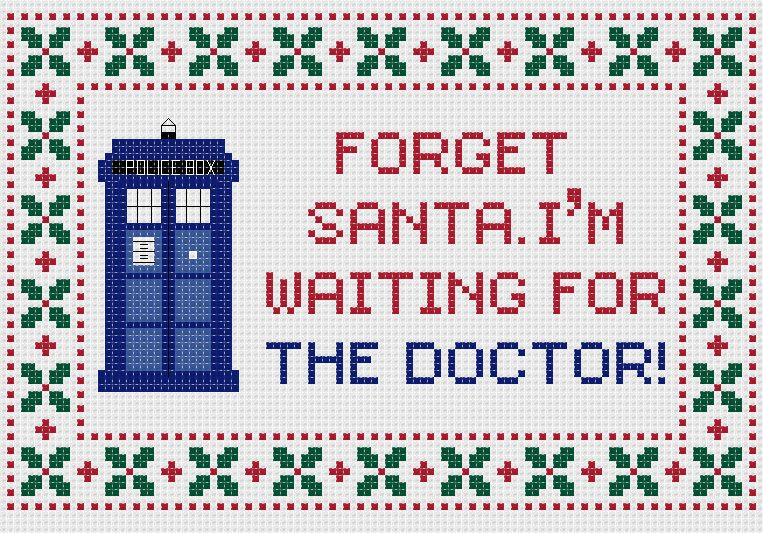 Doctor Who Christmas cross stitch sampler PDF pattern. £2.30, via Etsy.