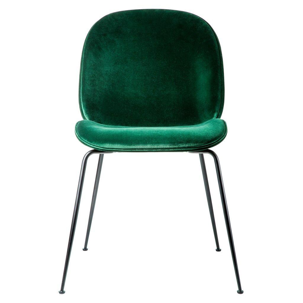 Beetle Dining Chair Green Velvet With Black Legs  chez