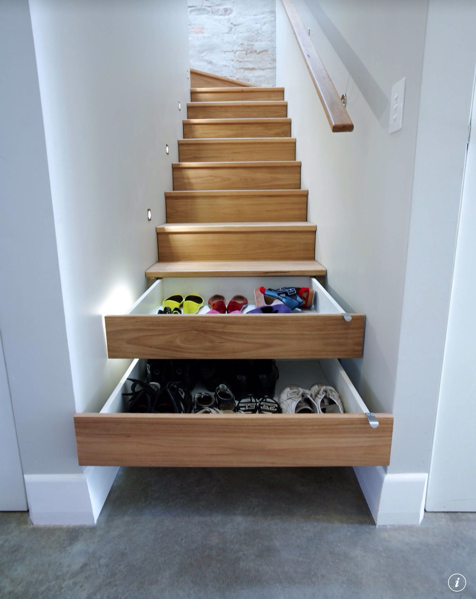 built in stair storage.