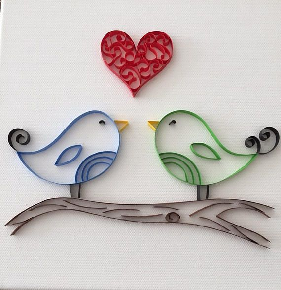 Love Birds  Quilled Paper Art