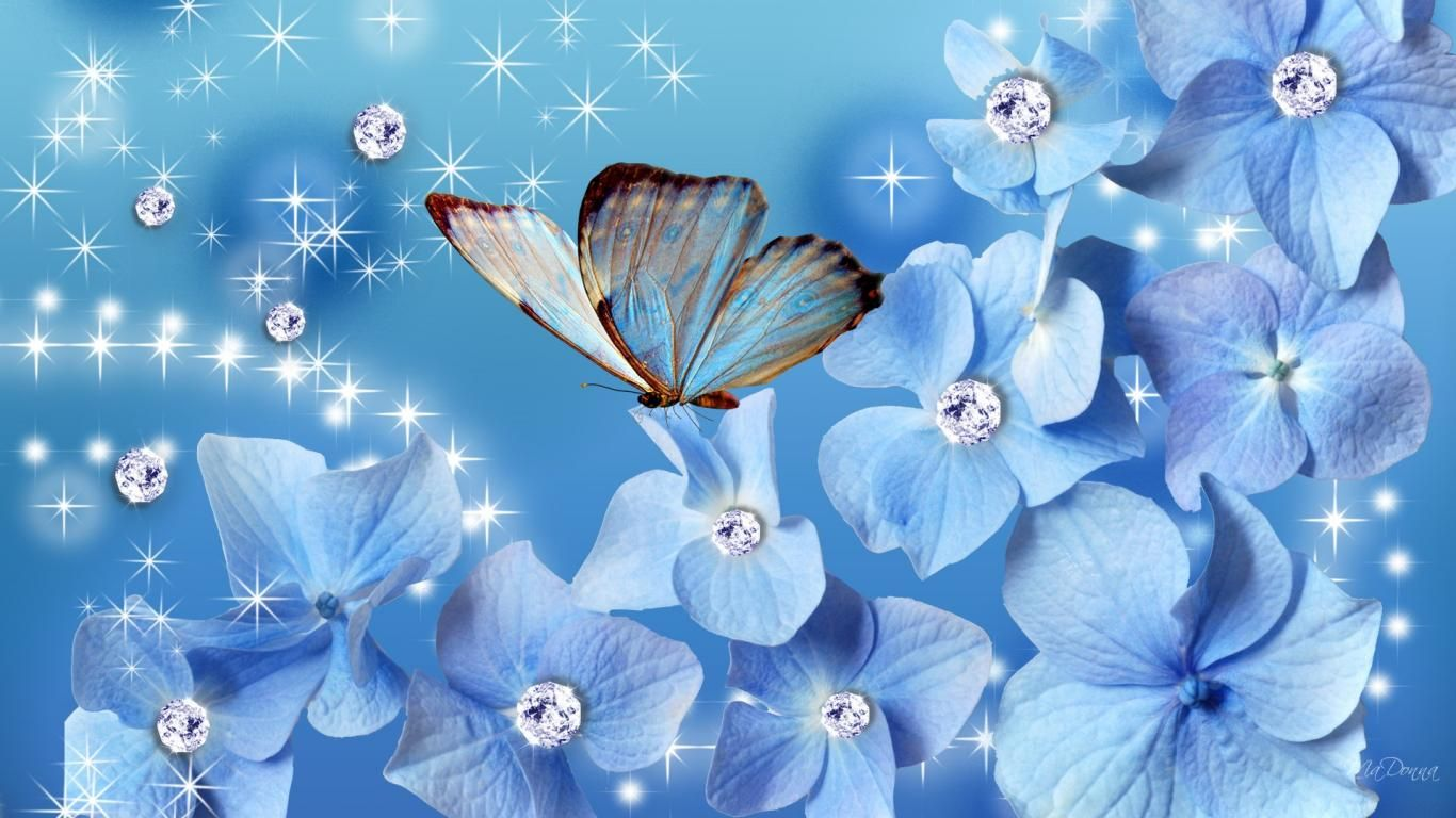 Wallpapers Glitter Flowers Persona Sparkles Stars Free Hd 1366x768