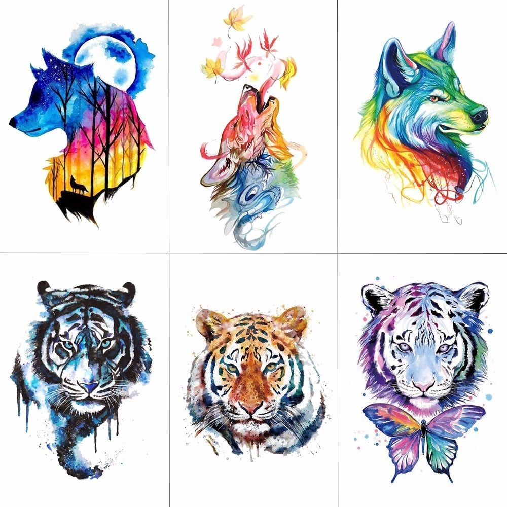 Cheap Tiger Temporary Tattoos Buy Quality Temporary Tattoos Waterproof Directly From China Temporary Tattoo Supp Hand Tattoos Watercolor Wolf Tattoos For Guys
