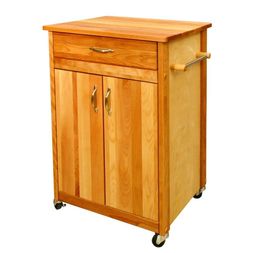 Catskill Craftsmen Natural Wood Kitchen Cart With Towel Rack 51527 The Home Depot Butcher Block Cart Kitchen Cart Butcher Block Kitchen
