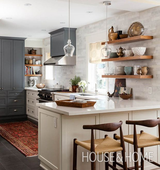 30 kitchens that dare to bare all with open shelves for Island in small galley kitchen