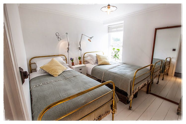 Twin Bedroom With Vintage Brass Hospital Beds