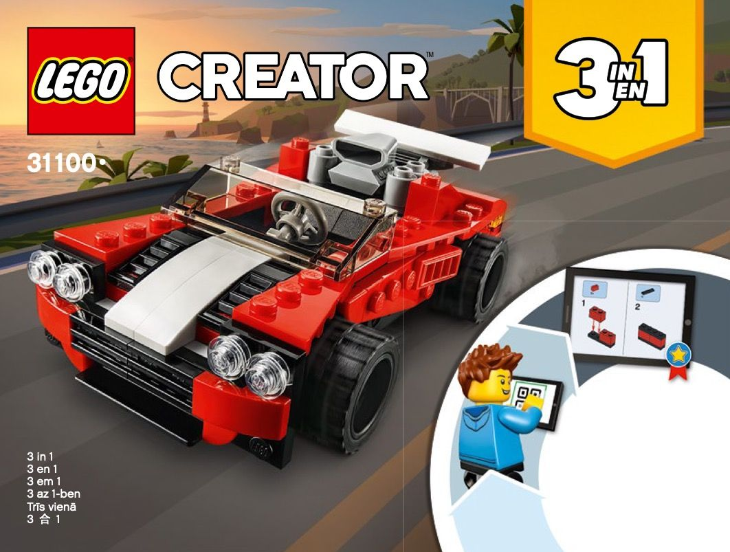 Lego 31100 Sports Car Instructions Displayed Page By Page To Help You Build This Amazing Lego Creator Set Lego Lego Creator Sets Sports Car