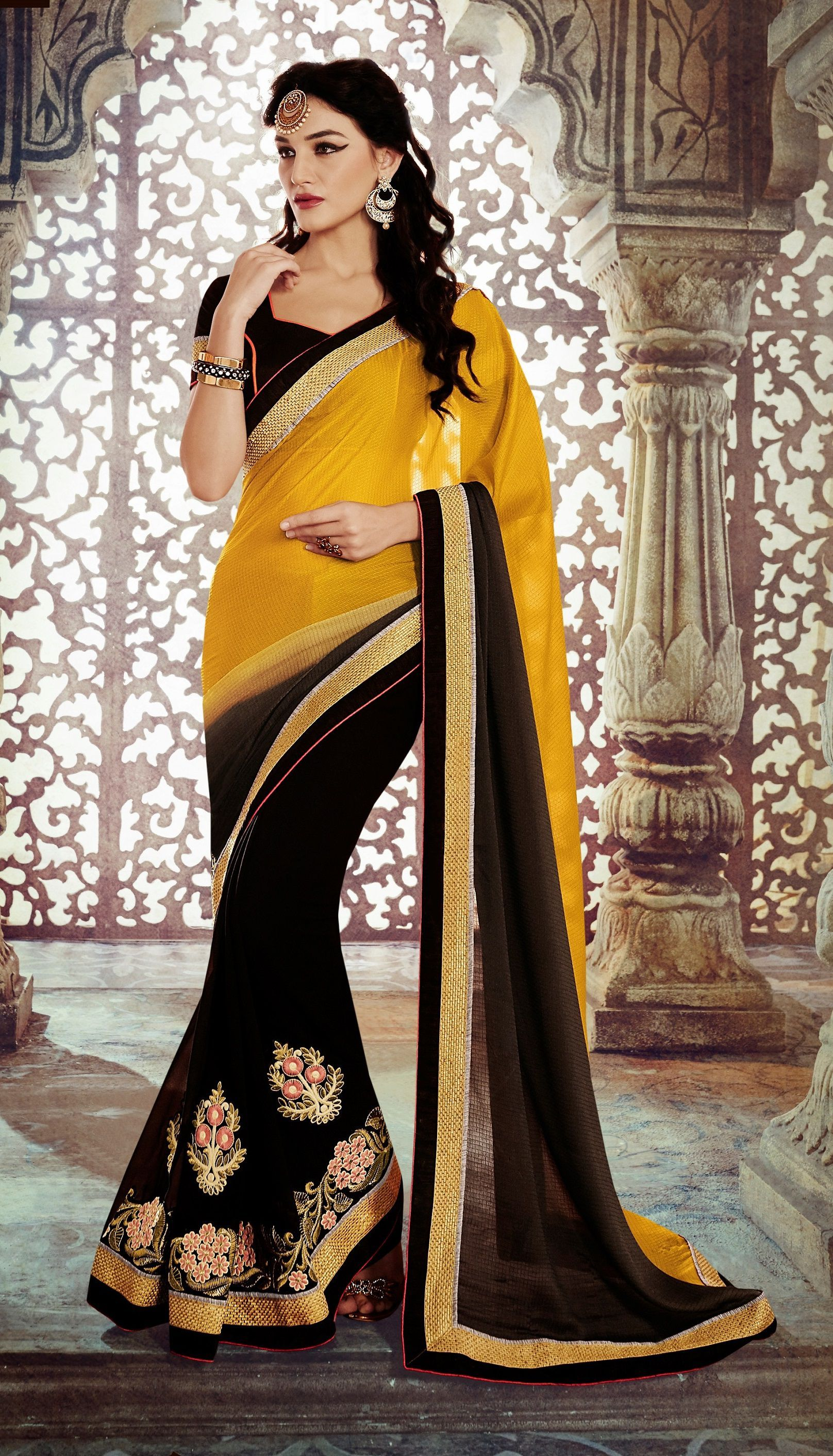 ccebdd5976 Buy Party-wear-Yellow-Black-color-saree from kollybollyethnics in USA UK  and canada