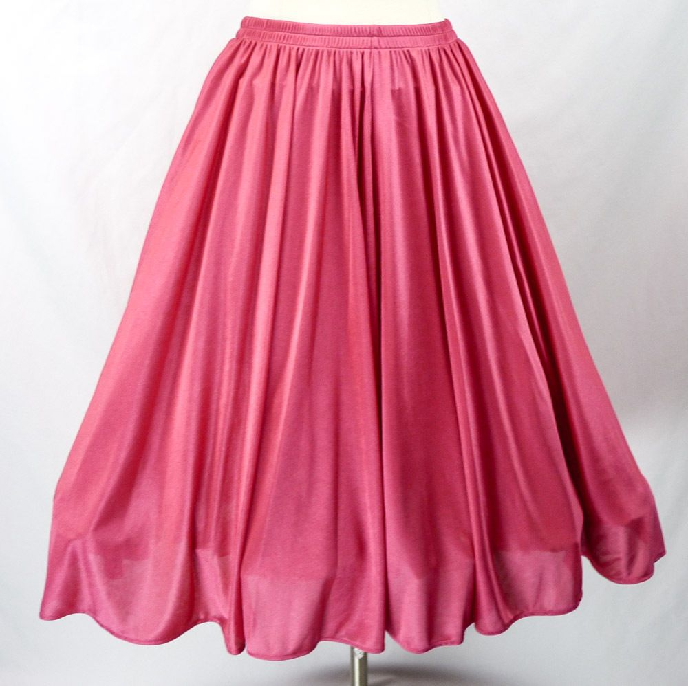 Vintage 80s Does 50s Silky HOT PINK Full Circle Skirt, Stretch Swing ...