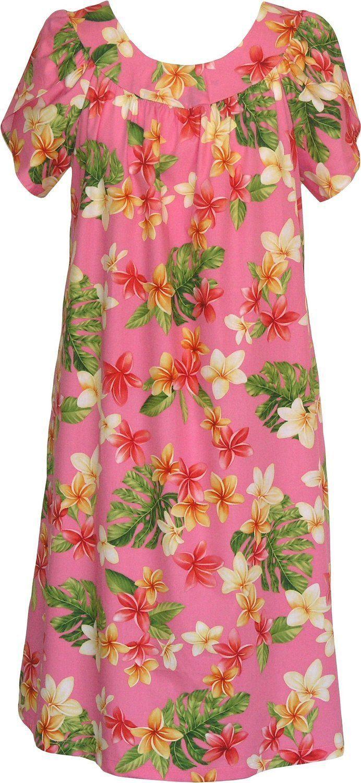 d2e5d7b6fd8 RJC Women s Yellow Plumeria Tea Length Hawaiian Muumuu House Dress Pink 2X