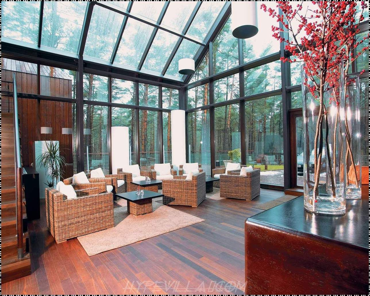 Contemporary living room ideas with glass house also wicker sofas