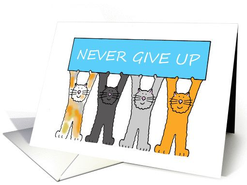Never give up support and encouragement cartoon cats card never give up support and encouragement cartoon cats personalize any greeting card for no additional cost cards are shipped the next business day m4hsunfo